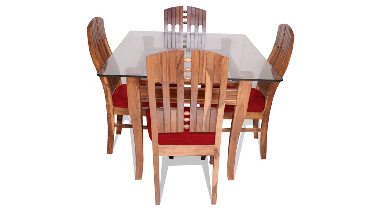 Get Modern Complete Home Interior With 20 Years Durability..Albini 4 Seater Dining  Set Rouge