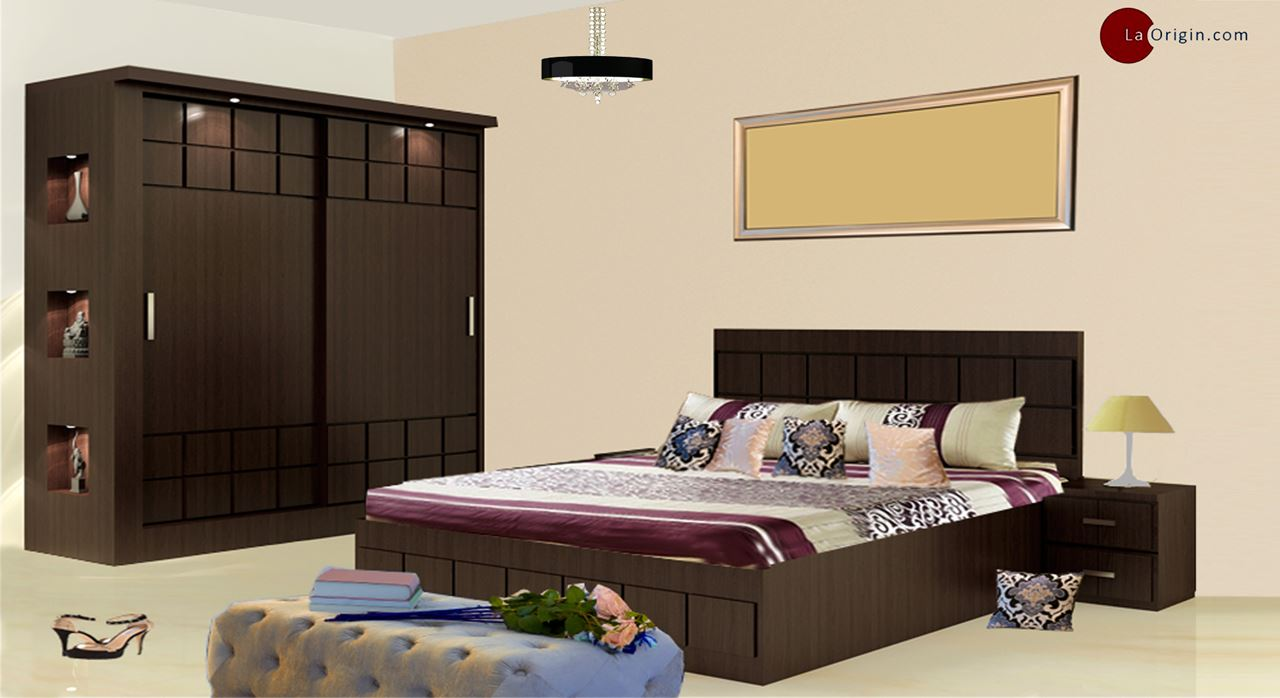 Get Modern Complete Home Interior With 20 Years Durability Paloma Bed Wardrobe Set