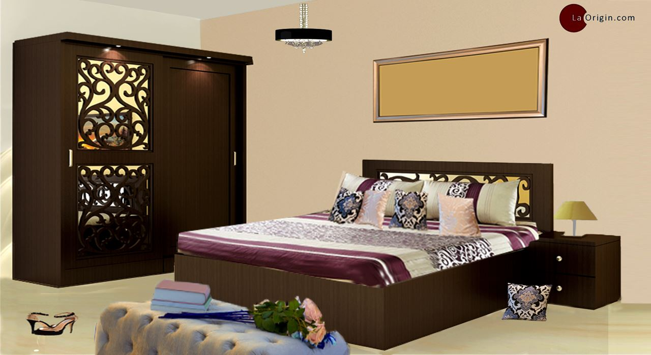 Get Modern Complete Home Interior With 20 Years Durability Delphi Bed Wardrobe Set