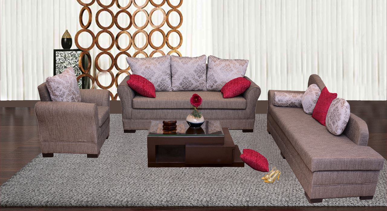 Get Modern Complete Home Interior With 20 Years Durability..Loire Sofa Set  A`Damier