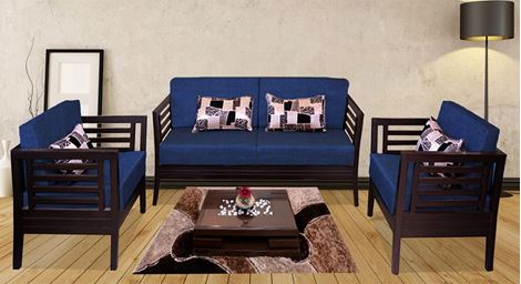 Picture of Teak Wood Sofa Set Bleu