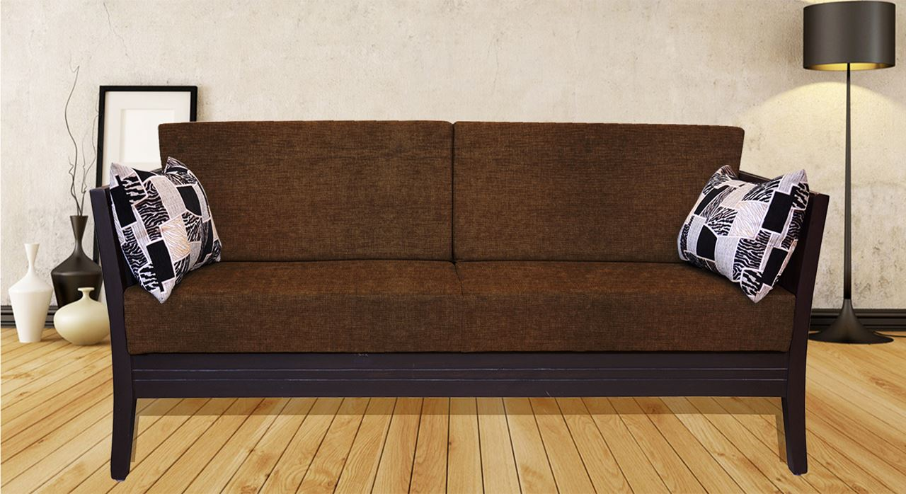 Get Modern Complete Home Interior With 20 Years Durability Teak Wood Sofa Set Brun 3s