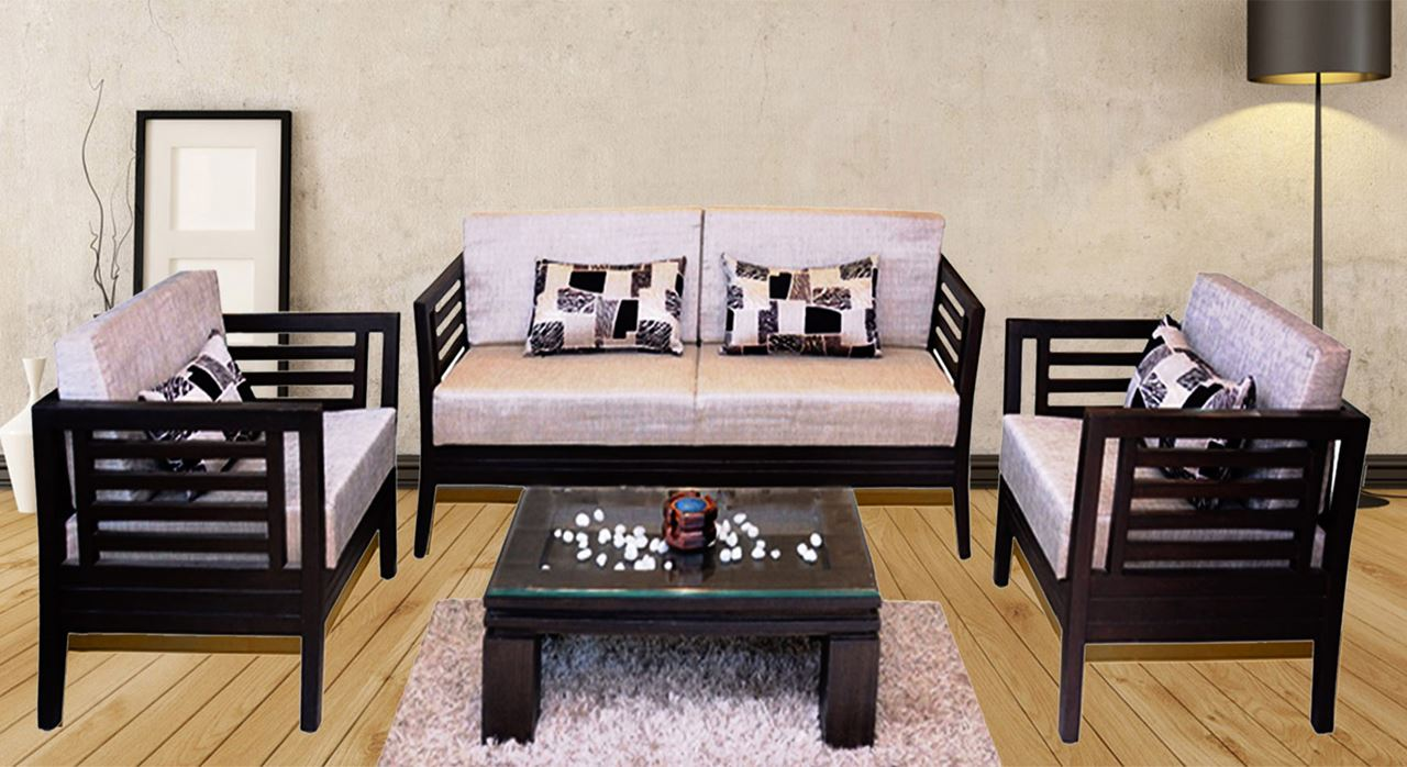Get Modern Complete Home Interior With 20 Years Durability Teak  ~ Wooden Sofa Sets For Living Room