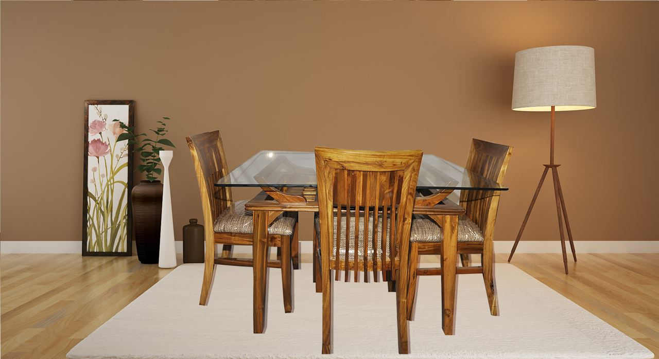 Get Modern Complete Home Interior With 20 Years Durability Teak Wood Dining Set Chairs Table