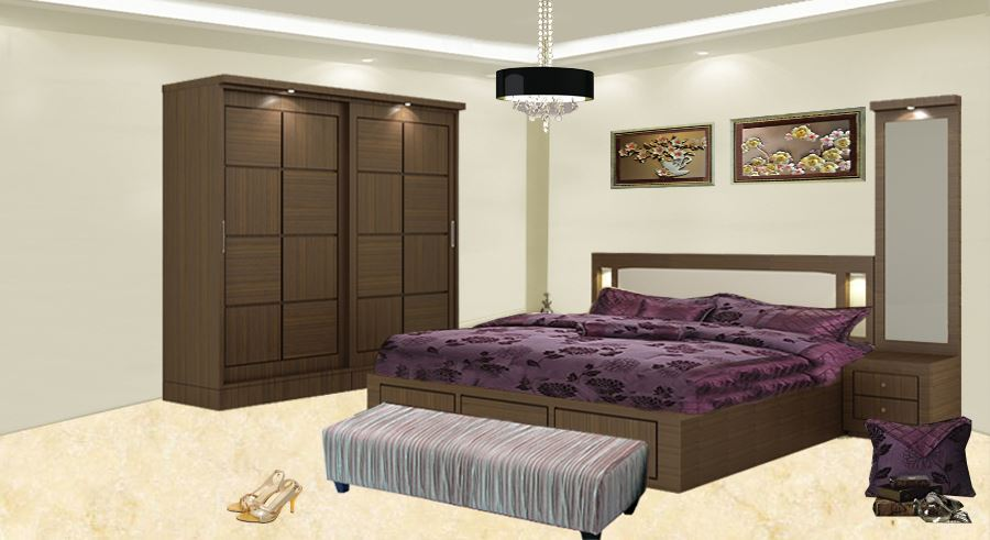 Get Modern Complete Home Interior With 20 Years Durability Carla Bed Wardrobe Set