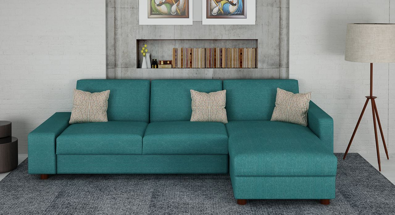 Get Modern Complete Home Interior With 20 Years Durability Emilie Lshape Sofa Turquoise