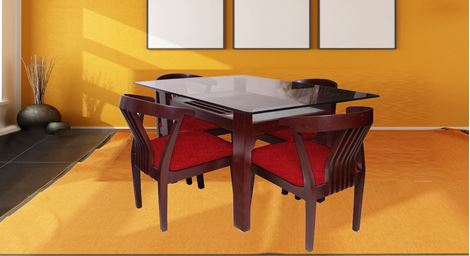 Picture of Millo 4 Seat Dining Set Rouge