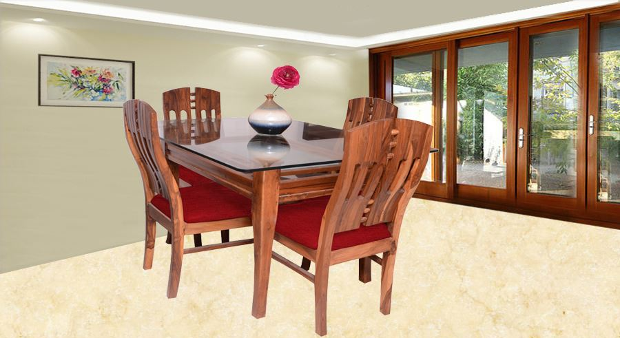 Dining Set For 4 Part - 46: Get Modern Complete Home Interior With 20 Years Durability..Albini 4 Seater Dining  Set Rouge