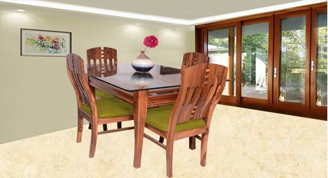 Picture of Albini 4 Seater Dining Set Olive